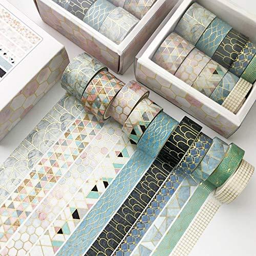 SWECOMZE 10 Rollen Washi Tape Set,Dekoratives Klebeband,DIY Papier Tape,Kollektion für Bastler,verschönert Journals,Karten und Scrapbooking (Geometrie)