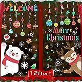Pegatinas Navidad Ventanas 8 hojas, Pegatinas navidad escaparate Monigote Copo de nieve grande Reno vinilo Decorativas de ventana para Cristal PVC estático Reutilizable Adhesivos Navideños Decoracione