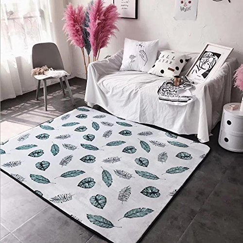 KOOCO Alfombras de sofá Relajado Estilo de Vida Casa Habitación cálida de Alfombras para Dormitorio alfombras Tatami Sala Infantil Mesa de café Suave Alfombrilla, Hojas, 190x195cm.