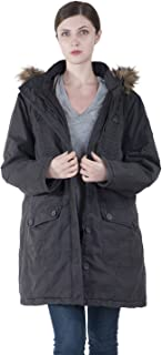Women Winter Long Outerwear Plus Size Cotton Hooded Parka Coat with Detachable Faux Fur for Chirstmas