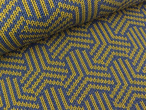 Albstoffe Hamburger liefde Check Point Knit Magic Knot Jeansblauw melange-mosterd