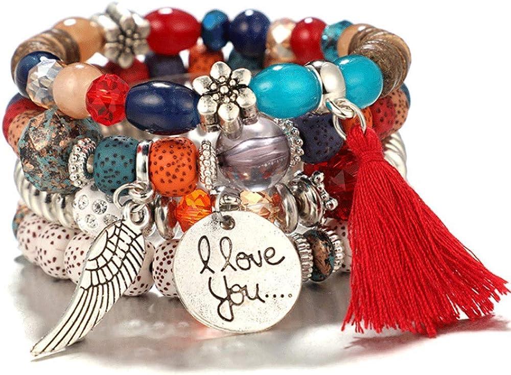 TIANHONGYAN Bohemian Stackable Wood Beads Bracelets Boho Multilayer Stretch Crystal Beaded Bracelet Statement Tassel Bangles for Women Girls and Men