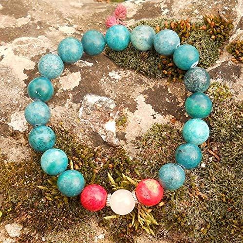 ágata azul natural, coral rojo con cristal de cuarzo 10 mm Forma redonda Pulsera elástica de 7 pulgadas con cuentas lisas para hombres / mujeres con cuentas de metal plateado.