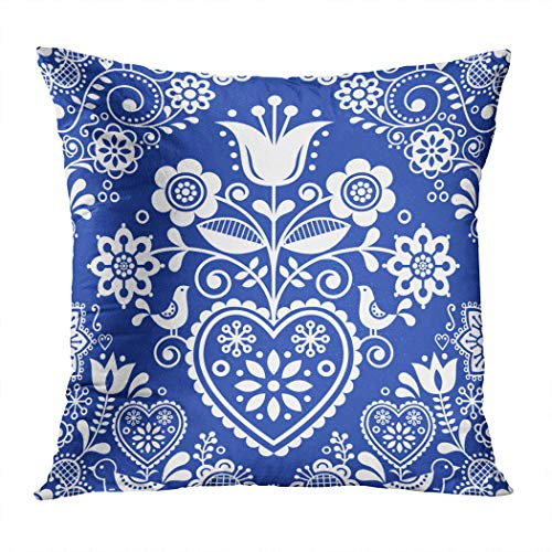 Meofo Throw Pillow Cover Seamless Folk Art Pattern Birds Creative Cute Danish Textured Tulip Decorative Polyester Soft Pillowcase for Sofa Office Cushion Bedroom Car Square 18 x 18 Inch