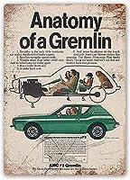 グレムリンの解剖学。 ブリキサインヴィンテージ鉄塗装メタルプレートノベルティ装飾クラブカフェバー。