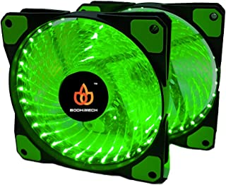 BODHiMECH 120mm Spiral LED PC Cooling Silent Case Fan for PC Computer Case (2 Pack Green)