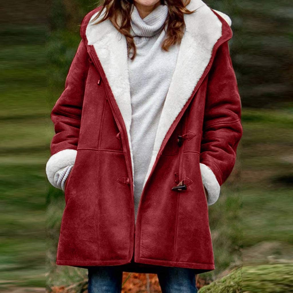 Whitleig Winter Warm Coats for Women Plus Size Hooded Jackets Parka Solid Thicken Jackets Long Cotton Horn Buckle Coat