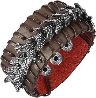 Jenia Leather Cuff Bracelet Cool Dragon Wrap Bracelets Adjustable Belt Punk Leather Wristbands for Men, Rocker, Biker, Boy