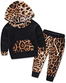 2Pcs Newborn Infant Baby Girl Clothes Long Sleeve Leopard Print Tracksuit Tops+Pants Set Kids Clothes Winter Outfits Set