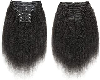 Kinky Straight Human Hair Clip Ins 100% Unprocess Brazilian Virgin Hair Extensions For African American Natural Black 10Pcs/Set 120Gram/4.23oz (10 Inch)