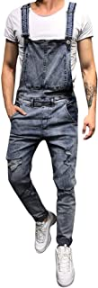 LUCKME Men Dungarees Denim Onesie Blue Jumpsuit Stonewash Bib Overalls Multi-Pocket Slim Fit Brace Overalls with Buckles W...