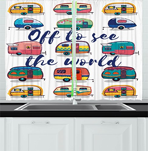"""Ambesonne Camper Kitchen Curtains, Off to See The World Inspirational Words Mini Caravans Background Vintage Trip Image, Window Drapes 2 Panel Set for Kitchen Cafe Decor, 55"""" X 39"""", Teal Yellow"""
