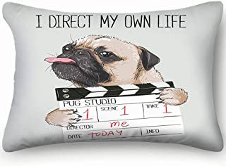 best bags Pug Director Slate Beauty Fashion Dog Cotton Linen Blend Decorative Throw Pillow Cover Cushion Covers Pillowcase Pillow Shams, Home Decor Decorations for Sofa Couch Bed Chair 20X36 Inch