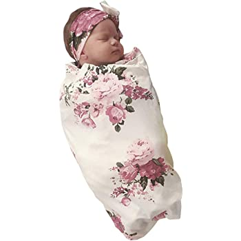Receiving Blankets Ranvi Newborn Baby Swaddle Blanket and Headband Value Set Blue Flower