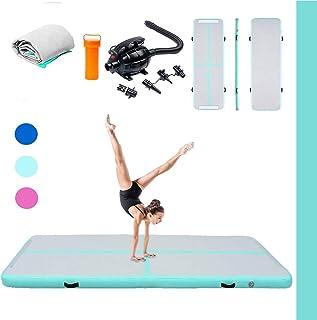 Triclicks Uppblåsbar gymnastikmatta i torktumlare med elektrisk luftpump | tumlande matta golvmatta yogamatta träningsmatt...