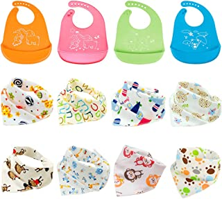 12pcs Baby Bandana Drool Bibs, Cotton Dribble Bibs, Waterproof Silicone Baby Bibs, Unisex Saliva Towel, Pinafore for Infant Toddler, Pinny for Teething Feeding and Drooling