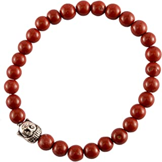Spiritual Elementz Reiki Charged Gift Red Jasper Gemstone (7-8 mm) Red Gemstone Chakra Stretch Bracelet (21-24 Beads) Unis...