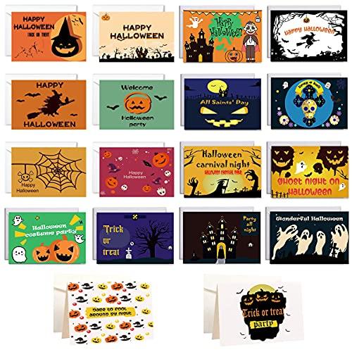 Confezione da 18 Biglietti di Auguri di Halloween con Buste e Adesivi di Halloween, Carte di Design di Halloween, Cartoline d'Auguri di Halloween, Biglietto d'Invito per la Festa di Halloween