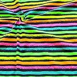 STOFFKONTOR Baumwoll Stretch Jersey Stoff Neon Streifen