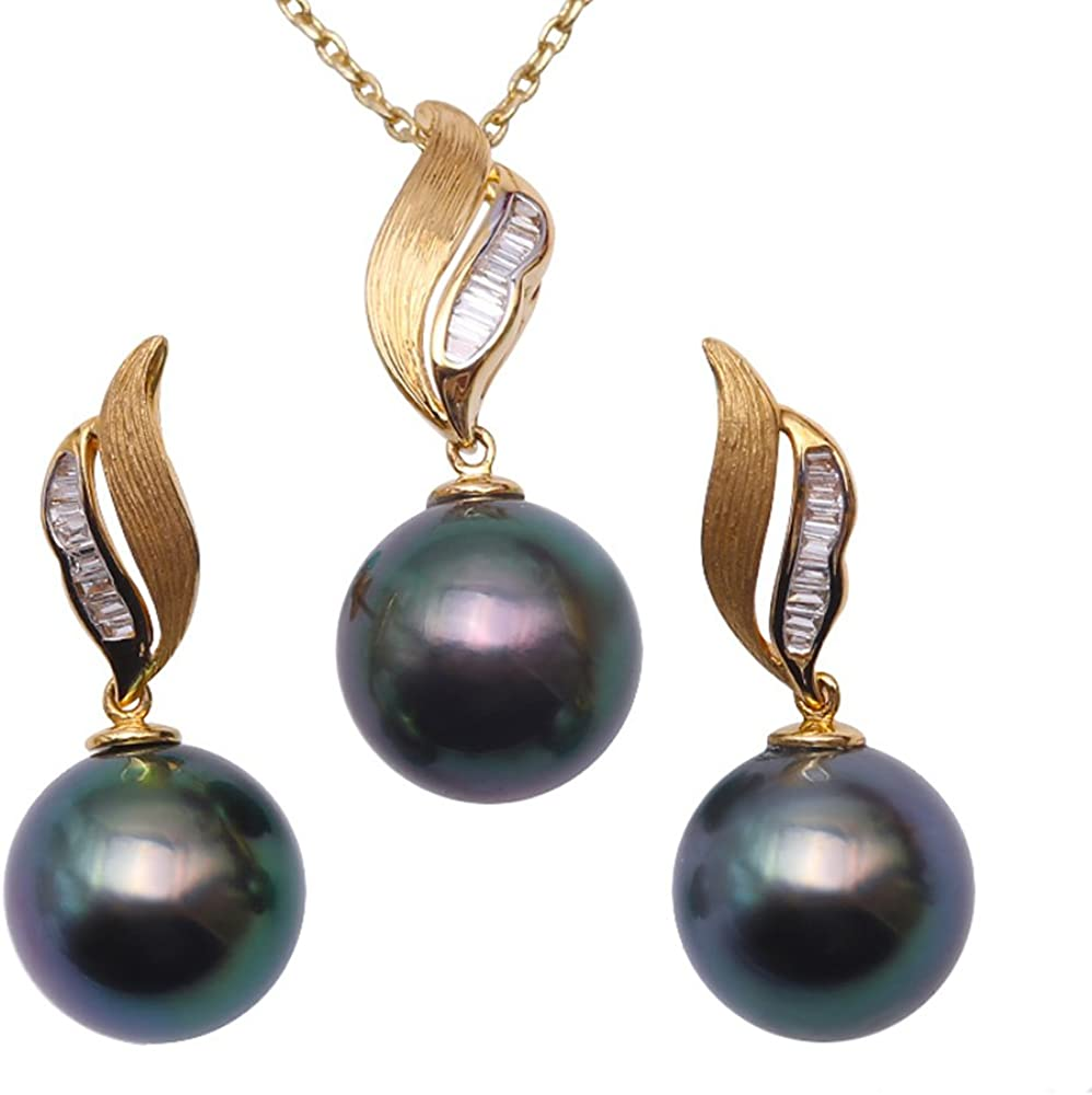 JYX Pearl Tahitian Jewelry Set 10.5mm Round Peacock-green Pearl Pendant and Stud Earring in 18K Gold