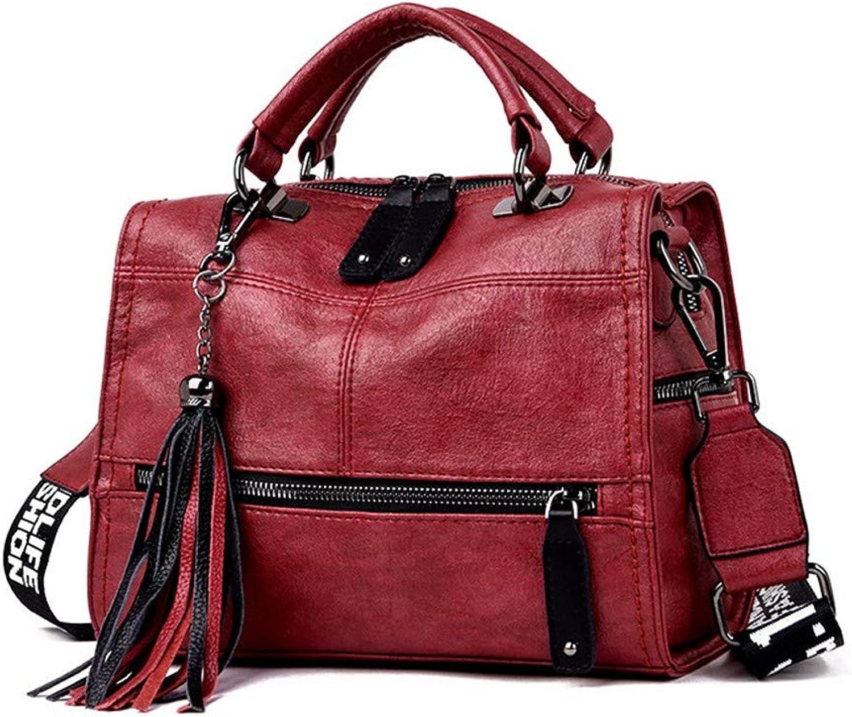 NZZNB Multi-Pocket Fashionable Tassel Pendant Lady Bag with Letter Pattern Shoulder Strap Retro Single-Shoulder Bag Simple Large-Capacity Oblique Bag Top-Handle Handbags