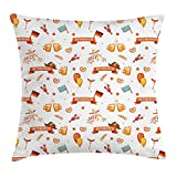 FAFANIQ Oktoberfest Throw Pillow Cushion Cover, Celebratory Party with Food Drinks Balloons Flowers German and Bavarian Flags, Decorative Square Accent Pillow Case, Multicolor, 18 X 18...