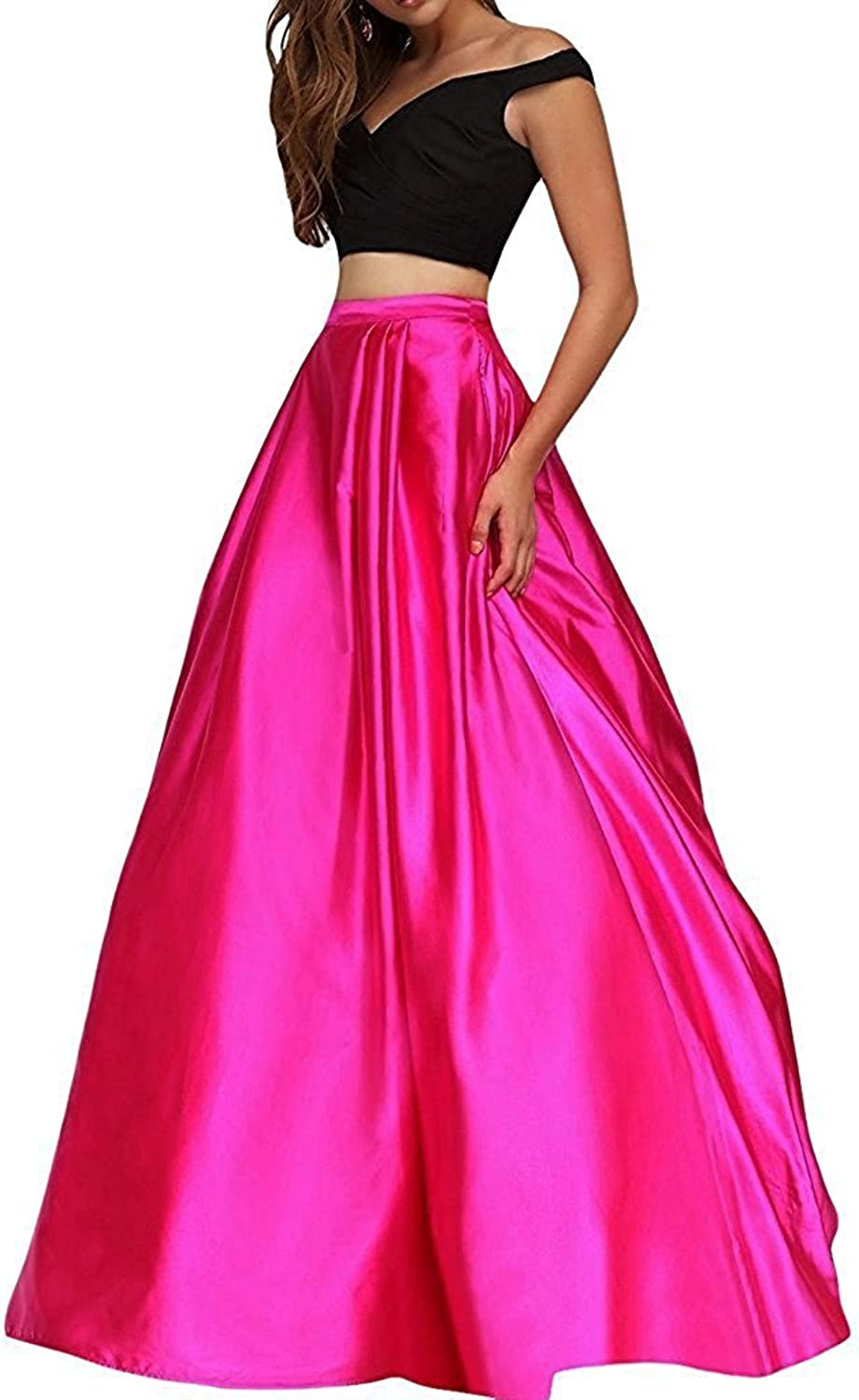 Hjtrust Women's Prom Dresses Two Pieces 2018 Long Formal Evening Dresses Party Gown H098