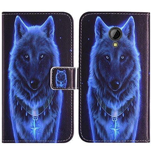 TienJueShi Loup Flip Book-Stand Cuir Housse Coque Etui Cas Couverture Protecteur Case Cover Skin pour Logicom L-ement 403 4 inch