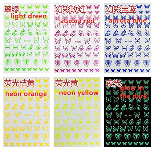 Wholesale Neon Butterfly and New Maple Leaves Nail Art 3D Decal Stickers Curve Stripe Glow in the Dark Acrylic Decoration