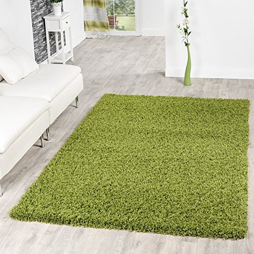 T&T Design Shaggy Teppich Hochflor Langflor Teppiche Wohnzimmer Preishammer versch. Farben, Farbe:Gruen, Größe:60x100 cm