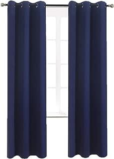 Aquazolax Bedroom Blackout Window Curtain Panels Grommets Blackout Curtains 42x84 Plain Window Treatment Drapery for Nursery, 2 Panels, Navy Blue