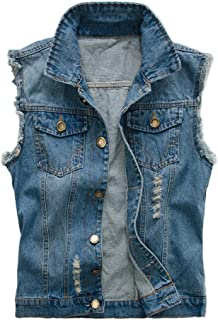 BoodTag Women Denim Vest Jacket Sleeveless Button Coat Outwear Destroy Tank