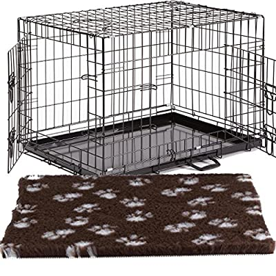 UKPET Pro Dog Crate Small Medium Large XL XXL Optional Bed & Bowls Puppy Cage Metal Folding Training Cage With Metal Tray