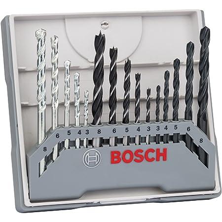 Bosch Professional 15tlg. Gemischtes Bohrer-Set (für Metall, Holz und Stein, Zubehör Bohrschrauber)