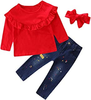 90334c3e53a Baby Girls Fashion Clothes Set Toddler Solid Tops Print Jeans Denim Pants