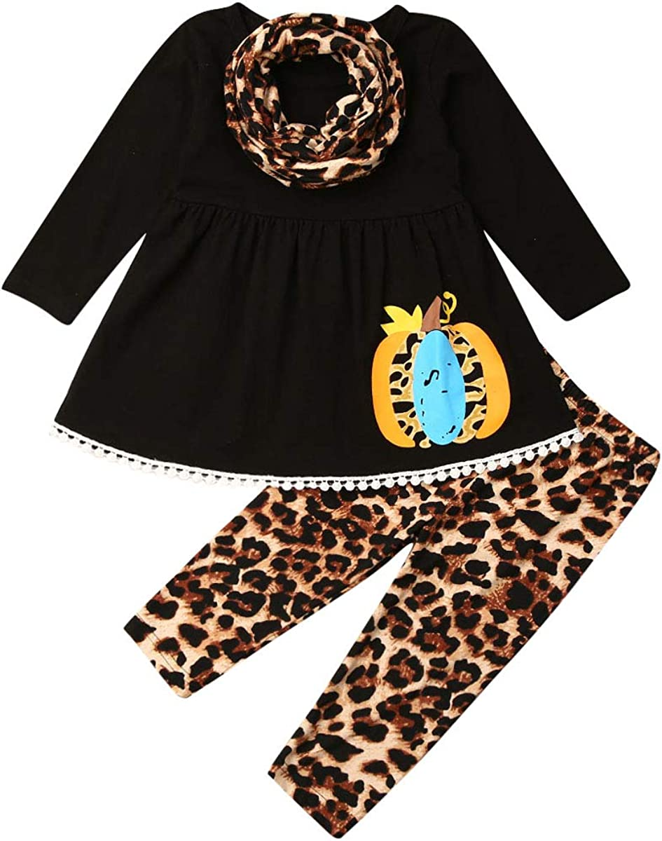 Toddler Baby Girl Halloween Clothes Flared Sleeve Solid Ruffled Pumpkin Dress Top + Leopard Pant Fall Winter Christmas Outfit