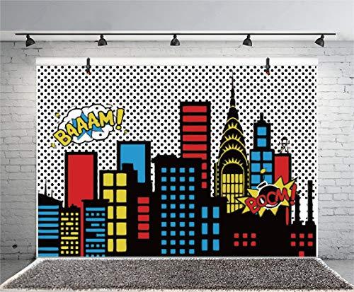 Yeele 5x3ft Cartoon Comic Super Hero City Photography...