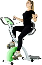 Murtisol Stationary Bike - Folding Indoor Exercise Bike with Twister Plate, Arm Resistance Bands, Extra Large&Adjustable Seat and Heart Monitor - Perfect Home Exercise Machine for Cardio, Three Colors