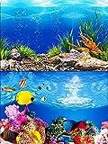 ELEBOX Water Plants Aquarium Background Poster HD Fish Tank Background Decorations Landscape 2 Sided 16'x 40'