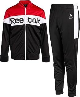 Reebok Conjunto de chándal deportivo de 2 piezas para niños con chaqueta con cremallera y pantalones para correr