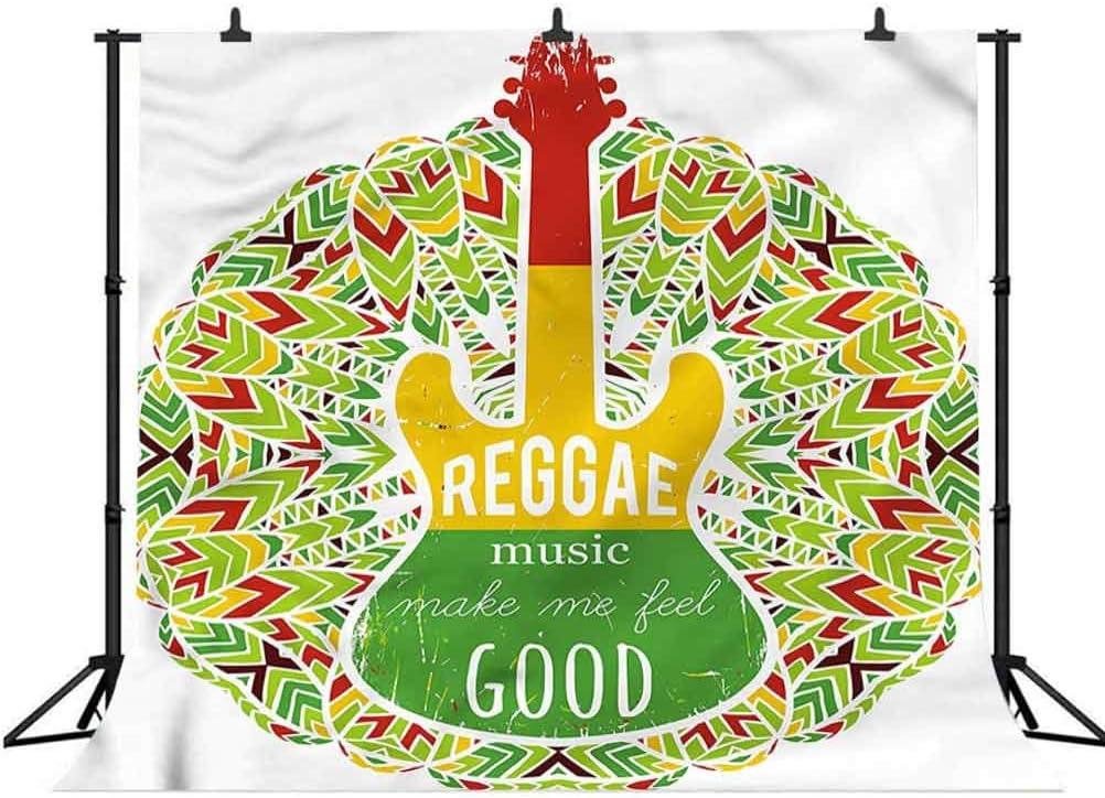 8x8FT Vinyl Photography Backdrop,Rasta,Reggae Music Icon Guitar Photoshoot Props Photo Background Studio Prop