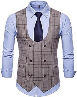 MU2M Men Plaid Print Double-Breasted Casual Slim Suit Vests Waistcoat