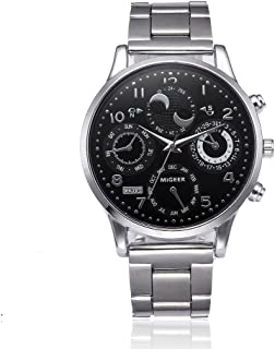 WaiiMak Men's Watch Date Quartz Wrist Watch with Classic Arabic Numbers Analog Dial and Stainless Steel Bracelet