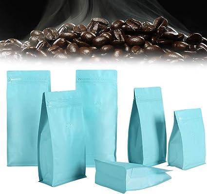 Andifany 50 Piezas Papel de Aluminio Mate V/áLvula de Caf/é Bolsa Ziplock Papel de Aluminio Vertical Grano de Caf/é V/áLvula de Escape Unidireccional Bolsa Bolsa de Embalaje 250G Negro