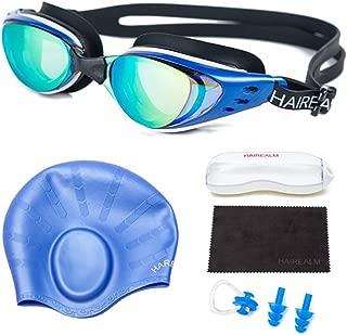 HAIREALM Swiming Goggles,Optical Prescription Swimming Goggles(Myopia 0-8.0 Diopters),Corrective Nearsighted Swim Goggles+Swimming caps+Nose Clip+Ear Plugs