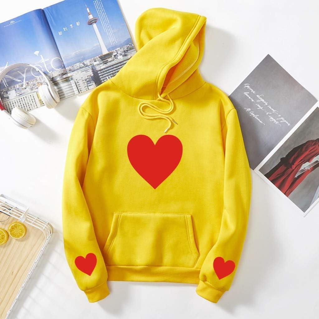 Girls' Hoodie, Misaky Autumn Winter Casual Love Print Pocket Long Sleeve Pullover Sweatshirt Couple Tops Blouse