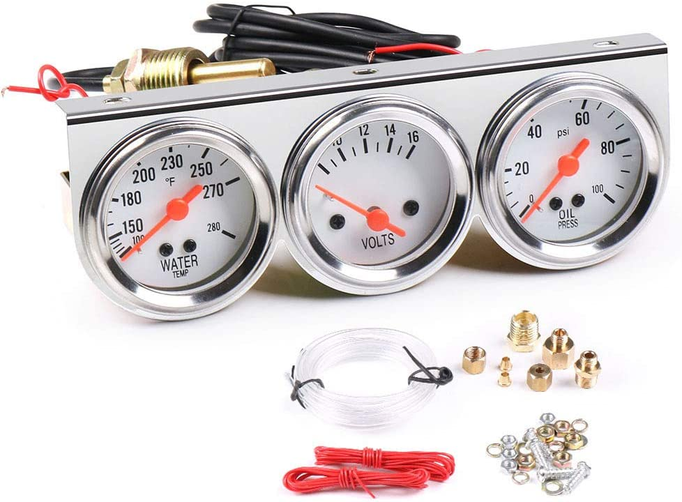 WonVon Fixed price for sale Oakland Mall 3 in 1 Car Meter Auto Gaug Chrome Gauge Triple 52mm 2