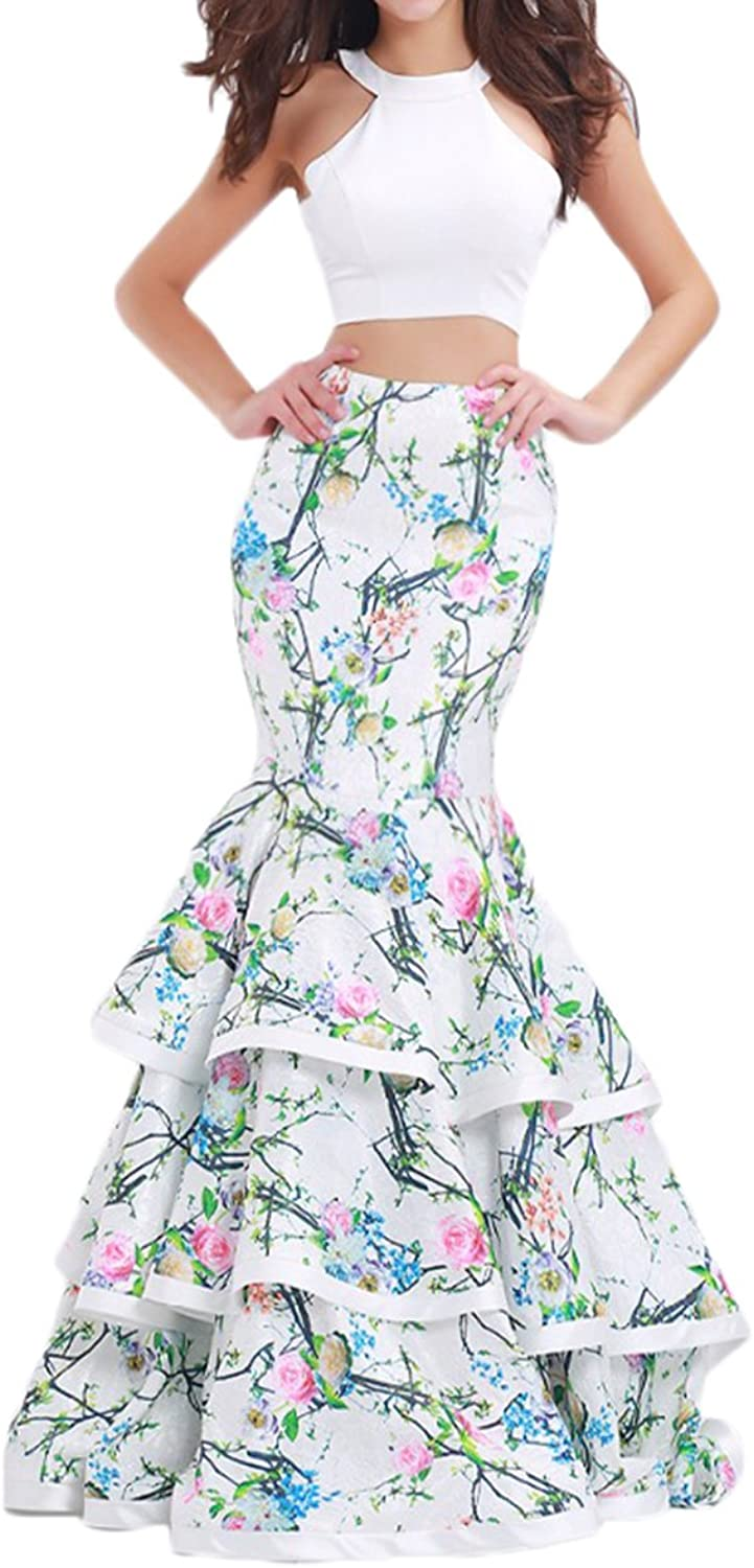 Alilith.Z Stunning 2 Piece Floral Prom Dresses Long Mermaid Evening Dresses for Women Formal 2018
