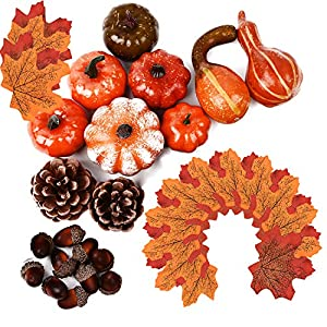 MerryNine 50 PCS Artificial Fake Pumpkins with Lifelike Maple Leaves,Realistic Acorn with Cap, Pinecones Ornament for Halloween Thanksgiving Fall Harvest Home Decoration