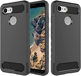 Sanfeng Google Pixel 3 Case, Dual Layer Combined Carbon Fiber TPU Shockproof Anti-Scratches Flexible Soft Protective Case Cover for Google Pixel 3(Black)
